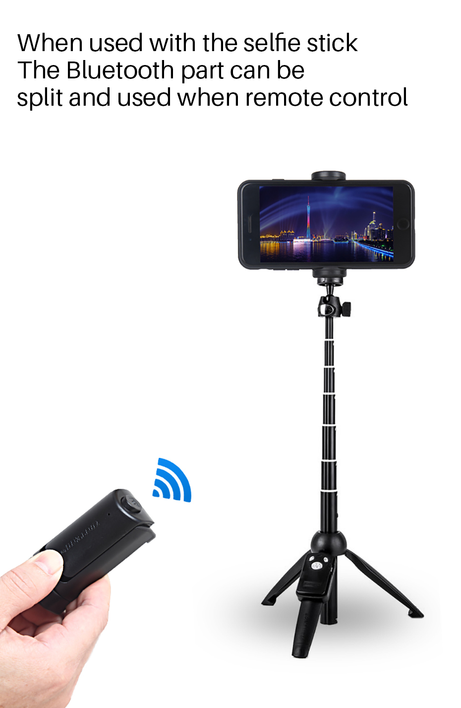 Yunteng Smartphone Selfie Booster Handle Grip Bluetooth Photo Stablizer Holder with Shutter Relese 1/4 Screw Phone Stand