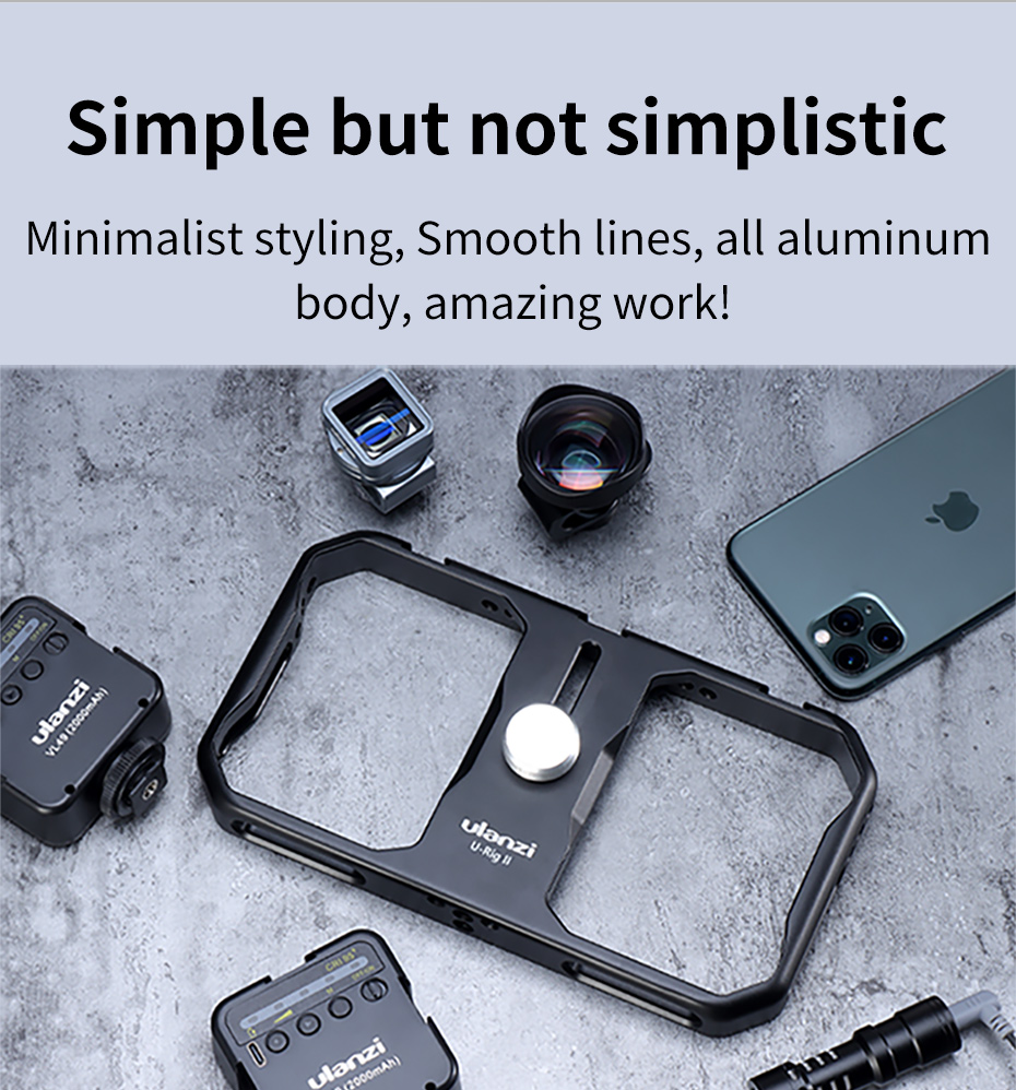 Ulanzi U-Rig II Metal Vlog Cage Case Video Rig Grip Filmmaking Case Phone Video Stabilizer Grip Tripod Mount for iPhone Android