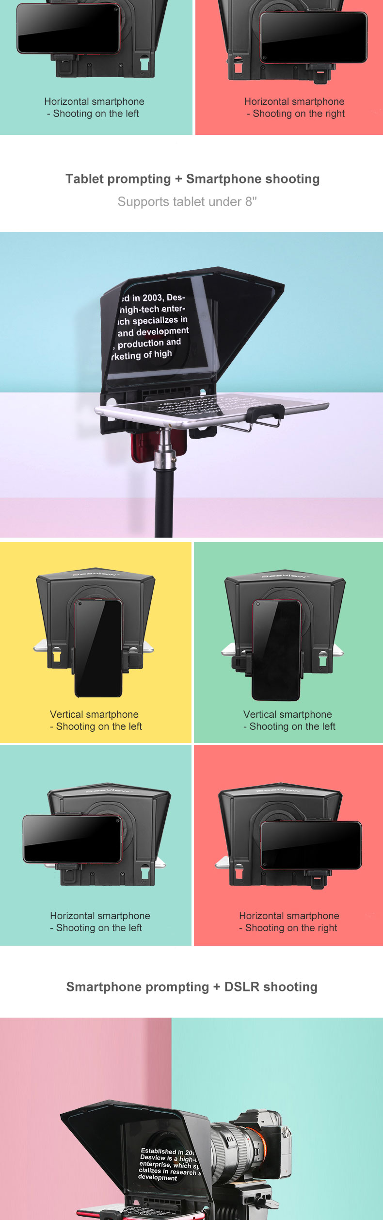 BestView T2 Tablet Teleprompter for interview speech video DSLR prompter for Tablet iPad Phones fit for wide angle lens