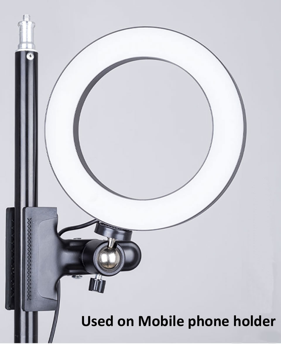 OUTMIX 26cm Protable Selfie Ring Light for Youtube Live Streaming Studio Video LED Dimmable Photography Lighting With USB Cable