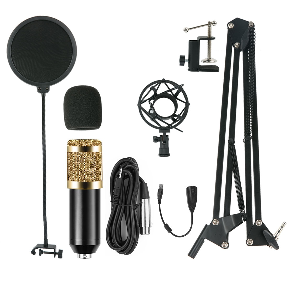 BM800 USB Condenser Microphone Kit BM-800 Cardioid Microphone Set with Sound Card for YouTube Studio Recording Vocals Voice Over