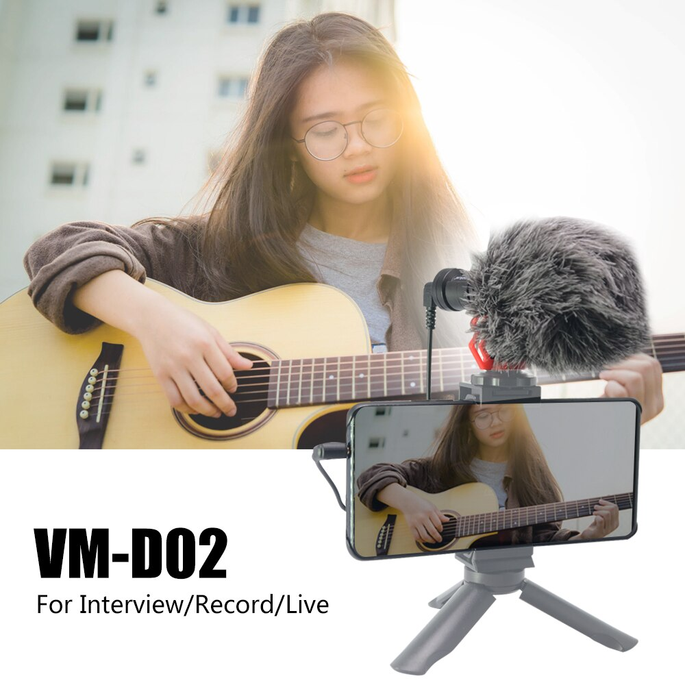 Mcoplus VM-D02 Video Record Microphone for DSLR Camera Smartphone Osmo Pocket iPhone Android Youtube Vlogging Mic