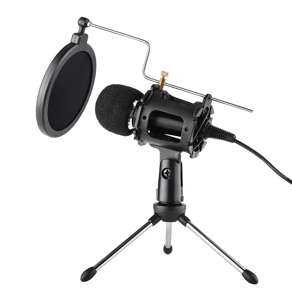 Video Microphone Kit 3.5mm Plug Home Stereo MIC Desktop Tripod for PC YouTube Video Skype Chatting Gaming Podcast Recording