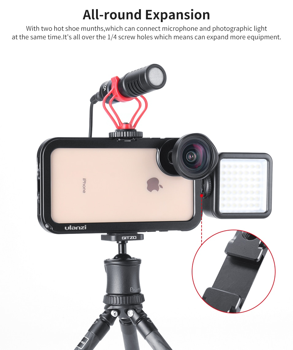 Ulanzi Vertical Shooting Vlog Metal Case Cage for iPhone Xs Max Vlogging Video Magnetic Case with 1/4 Screw