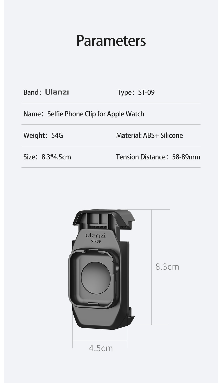 Ulanzi ST-09 Smartphone Mount with Cold shoe for Apple Watch Series 5 Vlog Cold Shoe Tripod Mount for LED Light Microphone