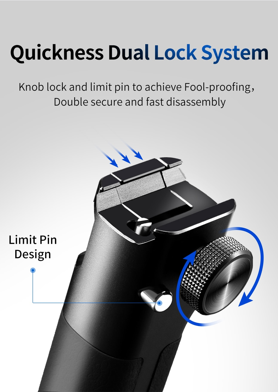 UURig DH14 Zhiyun Weebill-S Top Handle Hand Grip Extend Cold Shoe Mount 1/4'' Screw for DSLR Stabilizer Gimbal Accessories
