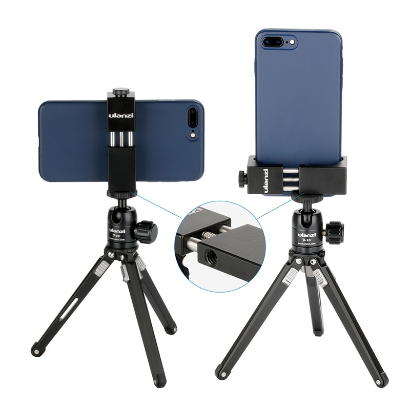 Ulanzi ST-02S Aluminum Phone Tripod Mount Rotate Vertical Horizontal Phone Holder Clamp w Cold Shoe Mount for iPhone X 8 7 Plus