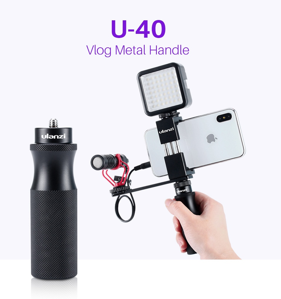 Ulanzi U-40 Vlog Handle Grip with 1/4 Cold Shoe Mount Adapter for Microphone LED Light Vlogging Kit Live Audio Video Grip