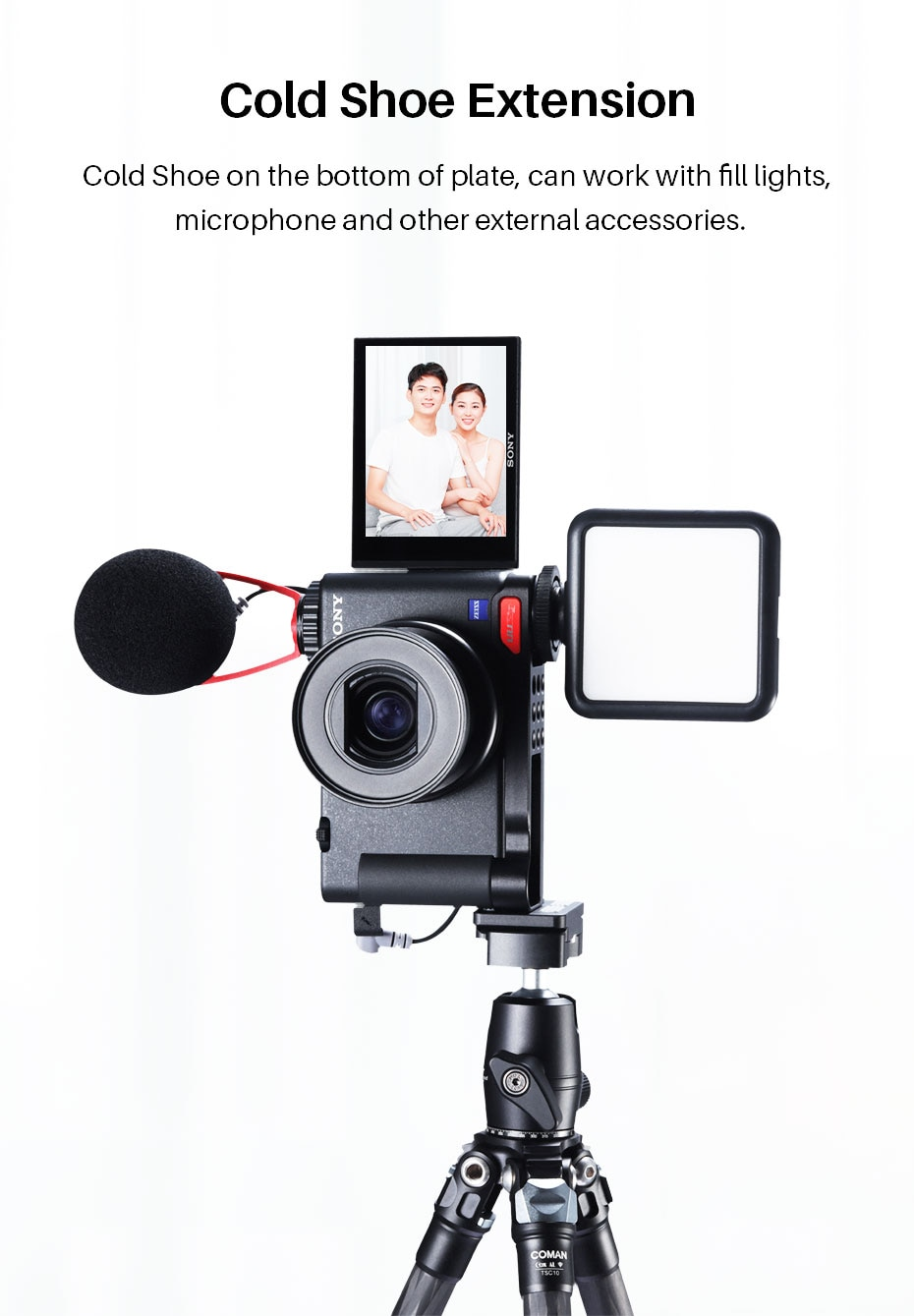 UURig R054 Base Plate Mount for Sony ZV1 Vertical Shooting Bracket Vlog Mount with Cold Shoe for Microphone Led Light