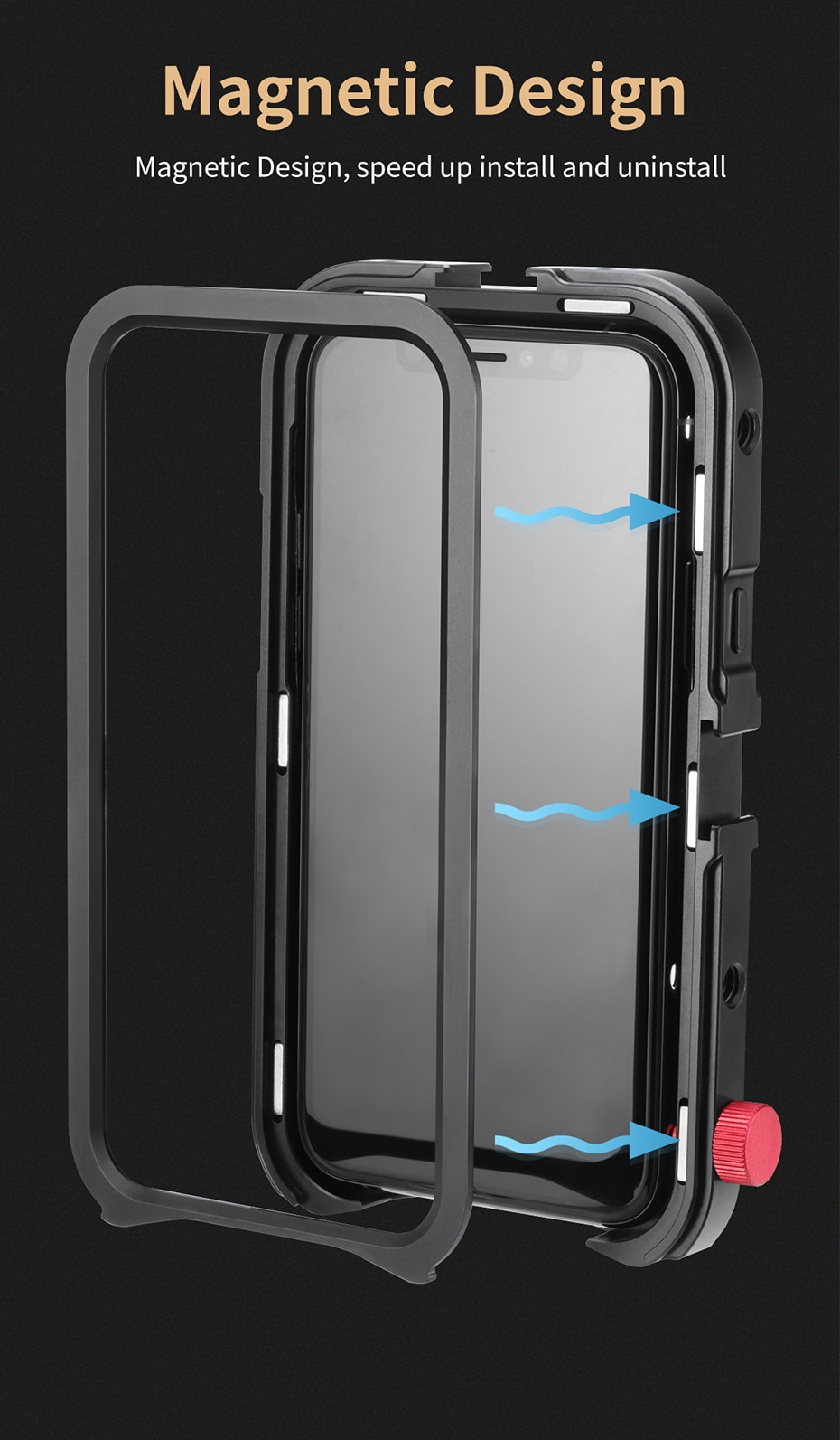 Ulanzi Vlog Metal Case Cage for iPhone 11 Video Shooting Record Vlogging Case with 17MM Thread 1/4 Screw