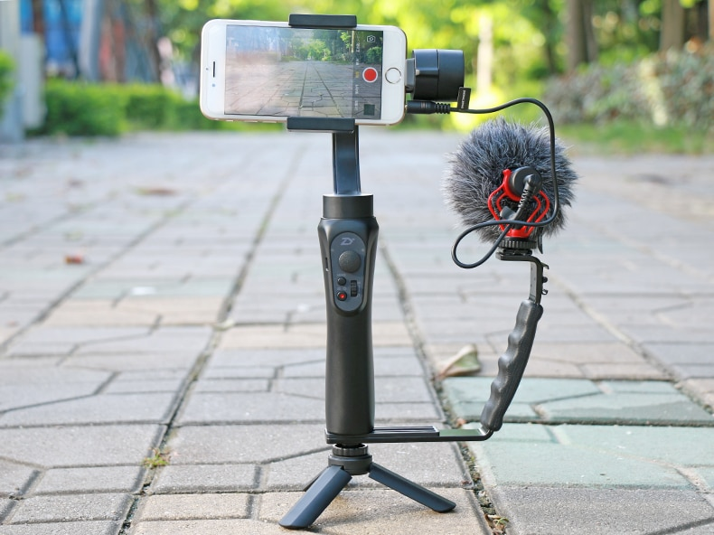 Ulanzi L Mic Stand With 2 Hot Shoe for Zhiyun Smooth Q Stabilizer/Feiyu Gimbal/Boya By-MM1 Microphone/Video Light Stand/iPhone 7