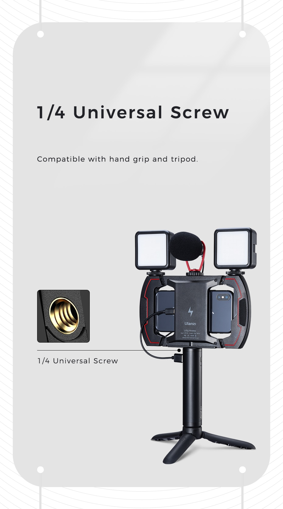 Ulanzi U-Rig Wireless Phone Charger 15W Fast Charging Holder Mount for iPhone Android Smartphone Tripod Mount Holder Vlog Rig