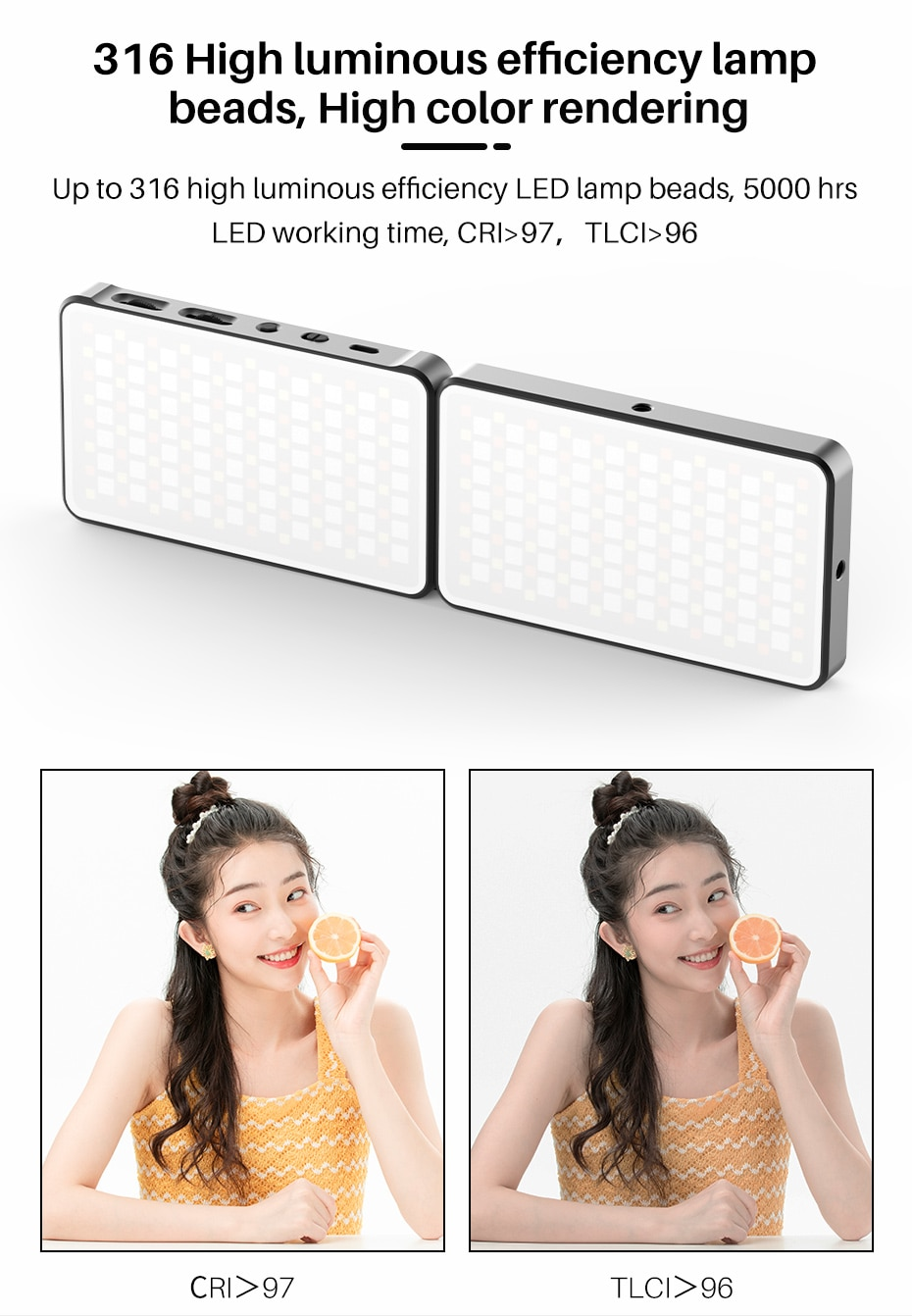Ulanzi Vijim R316 Folding RGB LED Video Camera Light 2 Pack Foldable Dimmable Fill Light Photography Lighting