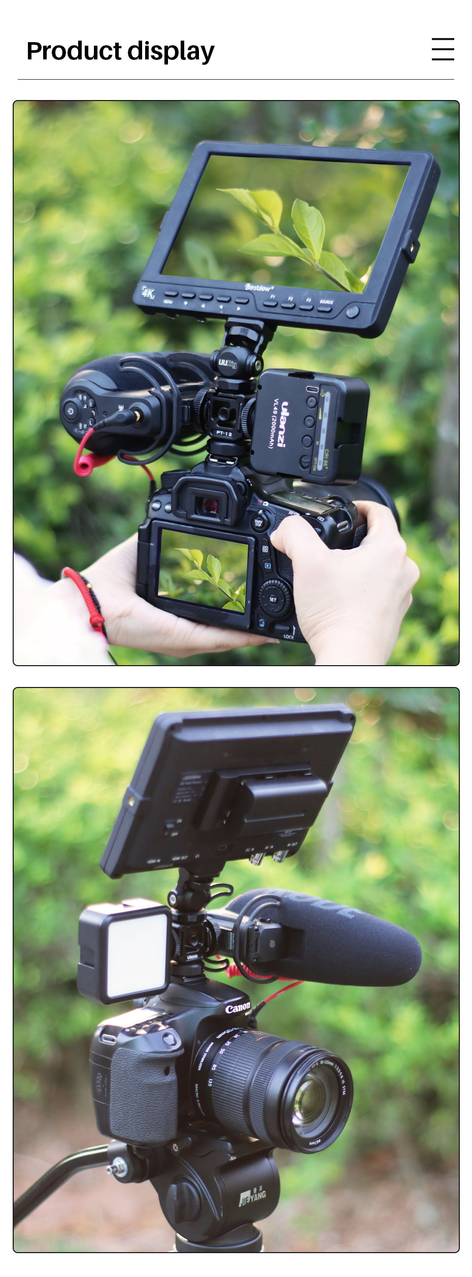 Ulanzi PT-12 DSLR Cold Shoe Mount Adapter DSLR Monitor Mount Three Cold Shoe for LED Light Microphone