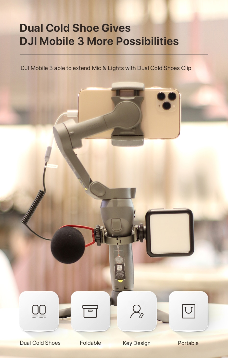 Ulanzi Osmo Mobile 3 4 Microphone Stand Mount Extend Cold Shoe Ring Adapter for LED Light Microphone Gimbal Accessories