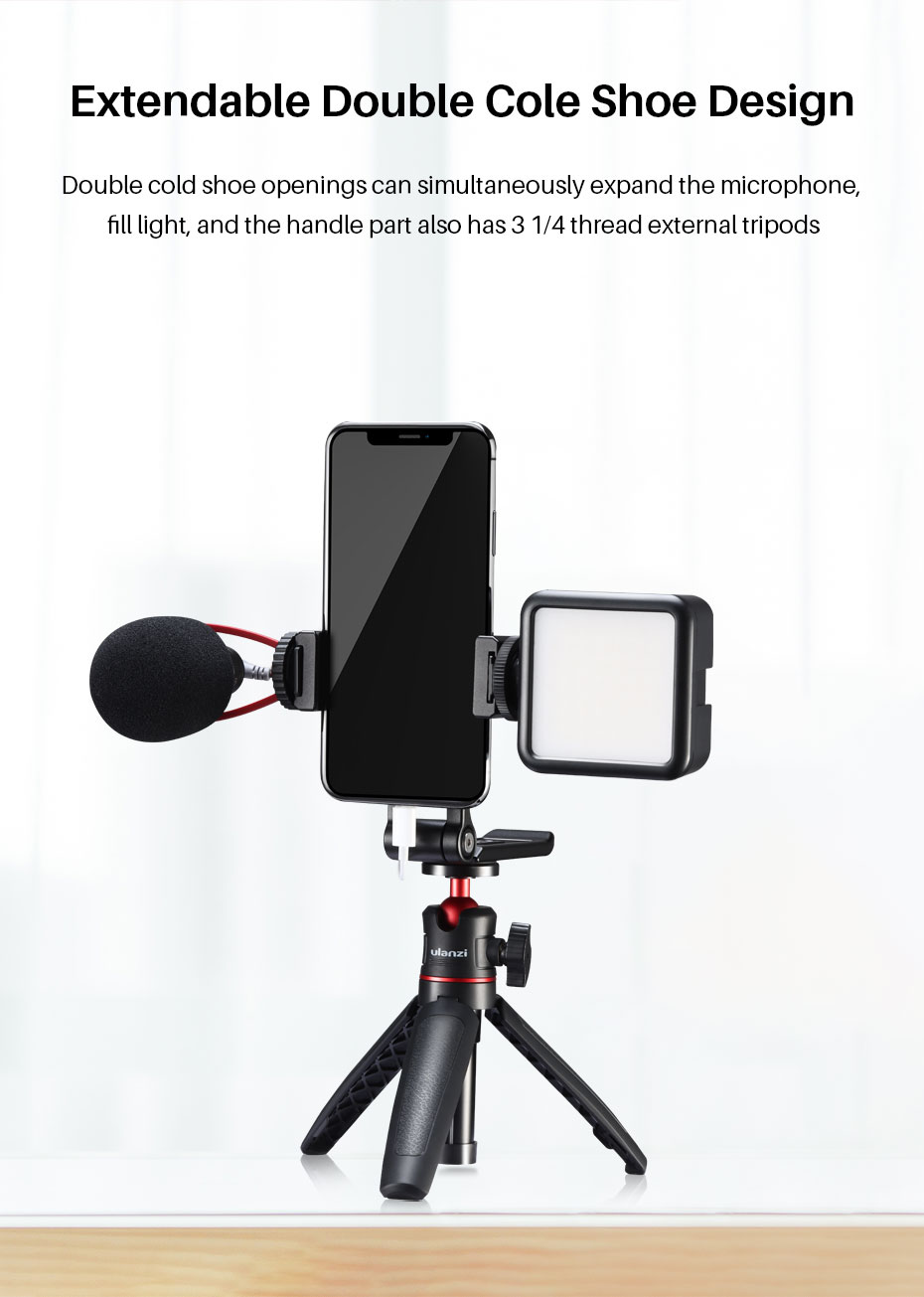 Ulanzi ST-16 Vertical Shooting Phone Mount Holder Metal Vlog Handgrip with Cold Shoe for LED Light Microphone