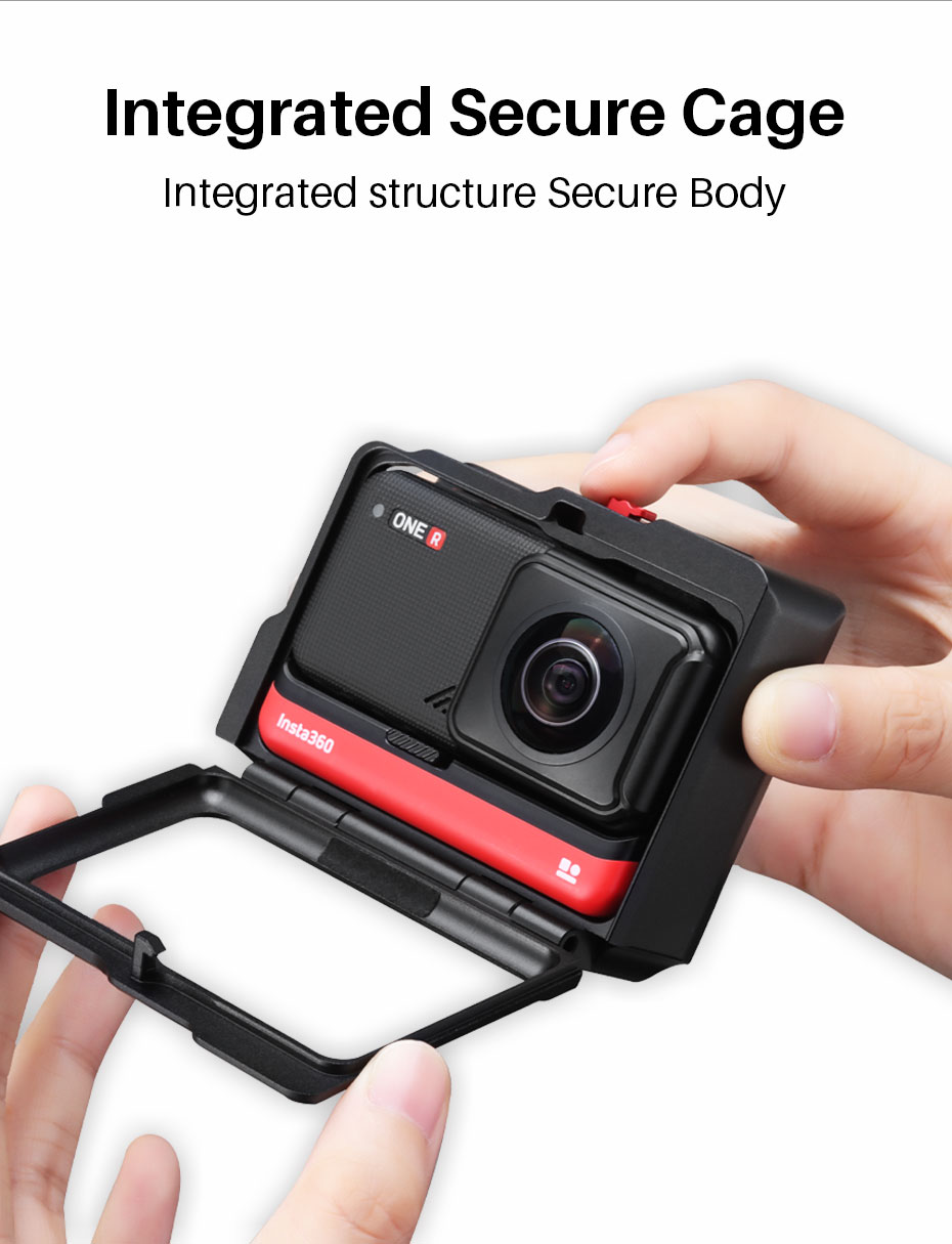 Ulanzi Insta360 One R Metal Vlog Cage Case Extend Cold Shoe for LED Light Microphone