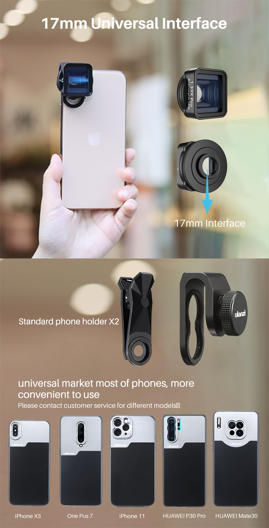 Ulanzi 1.33X Pro Anamorphic Lens  for iPhone 11 Pro XR XS Max HD 4K Movie Shooting Filmmaking Phone Camera Lens