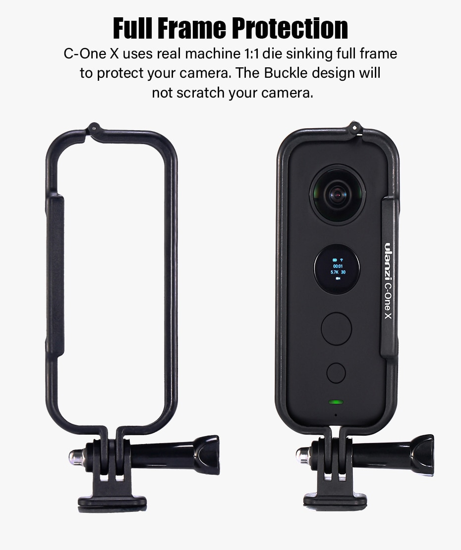 Ulanzi Plastic Protective Case Frame for Insta 360 One X Housing Cage with Camera Lens Cap Action Camera Adapter Kit