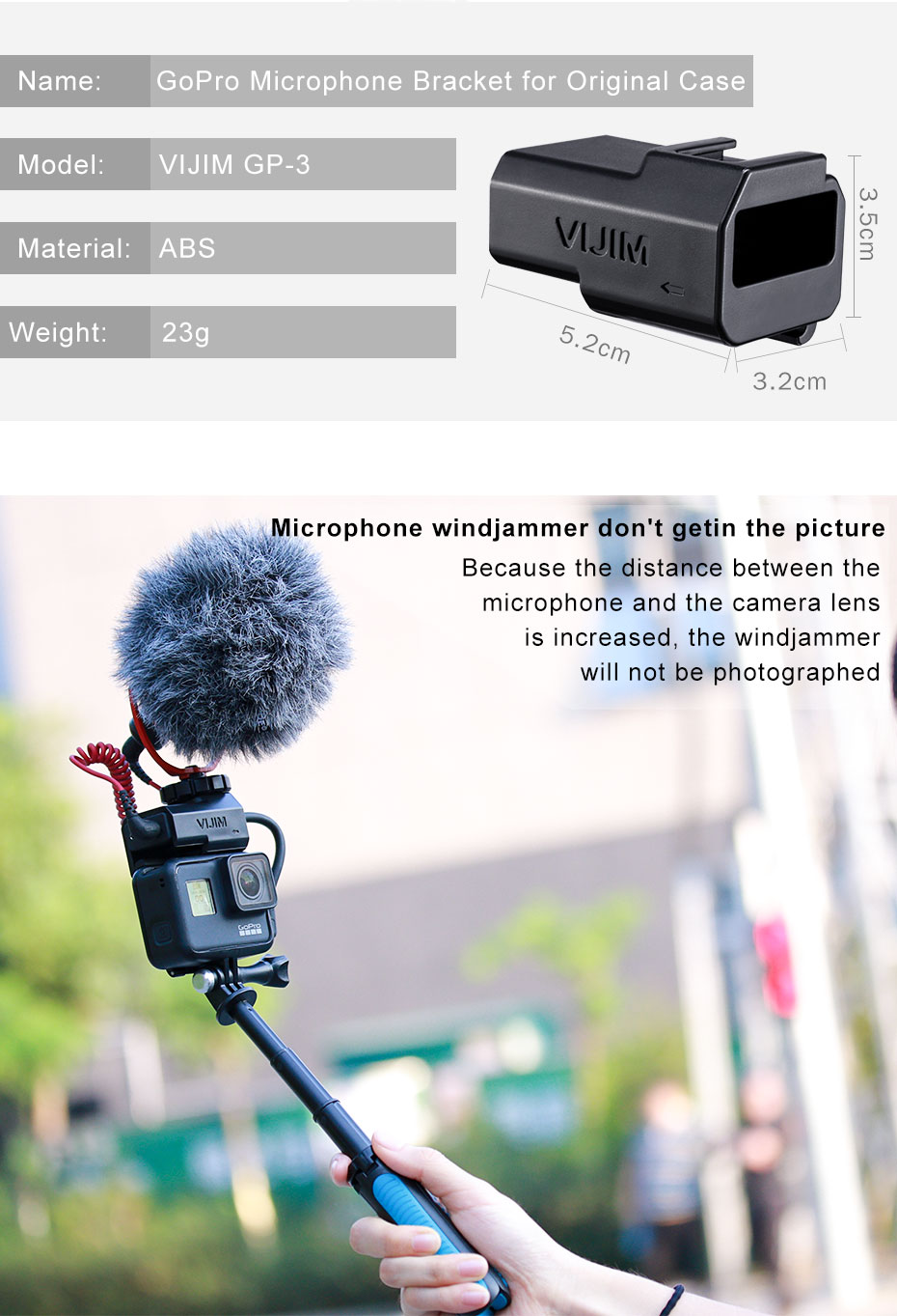 Vlog Microphone Mount Adapter for Gopro Hero Black 7 6 5 Cold Shoe Extend Mount for Original Gopro Battery Mic Adapter