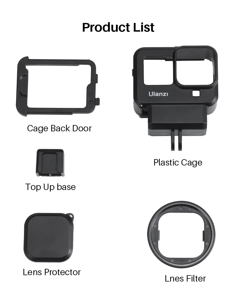 Ulanzi G8-9 Gopro 8 Plastic Vlog Protective Case Extend Cold Shoe for Microphone Battery Mic Adapter 52MM Filter Adapter Kit